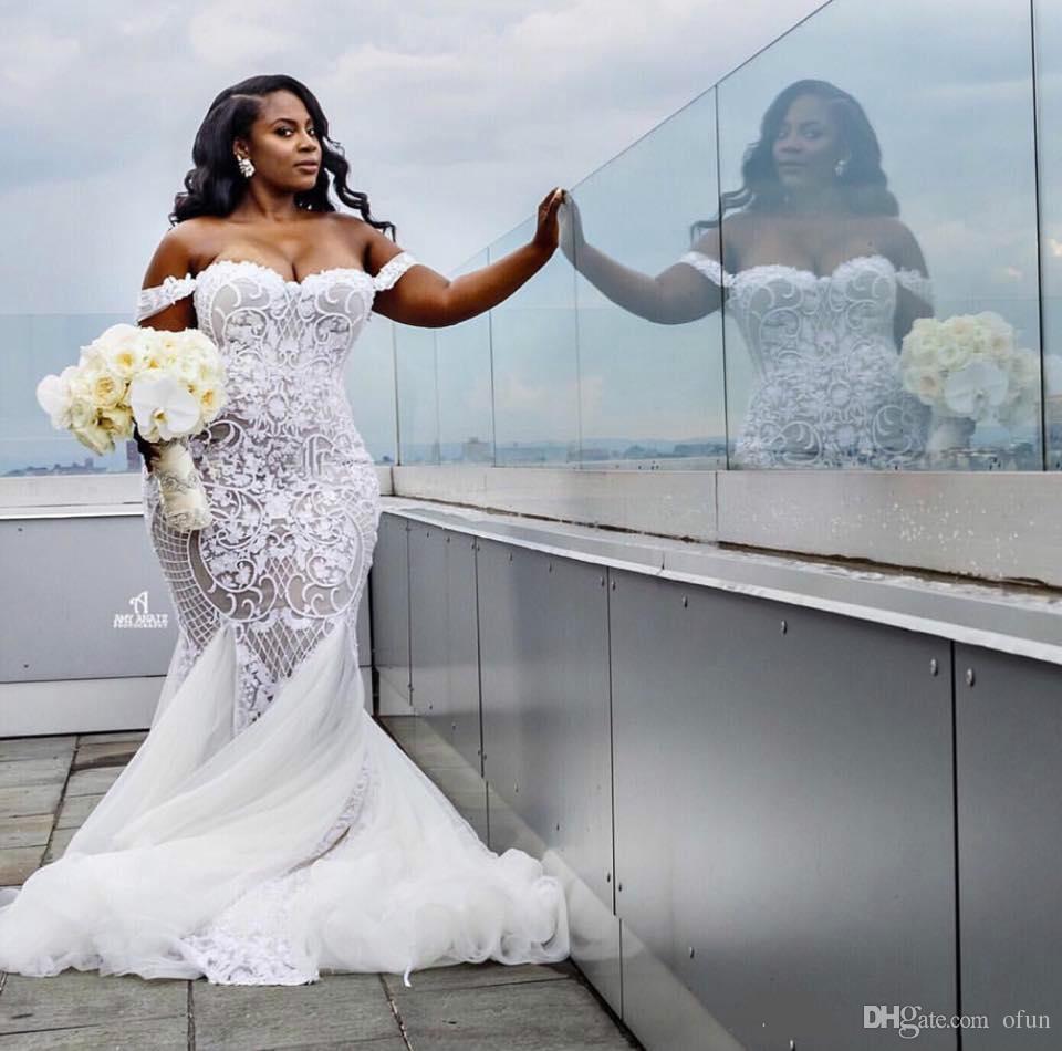 Modest Sexy Robes De Mariée Sirène Dentelle Applique Trompette Robes De Mariée Hors Épaule Plage Plus La Taille Robe De Mariage