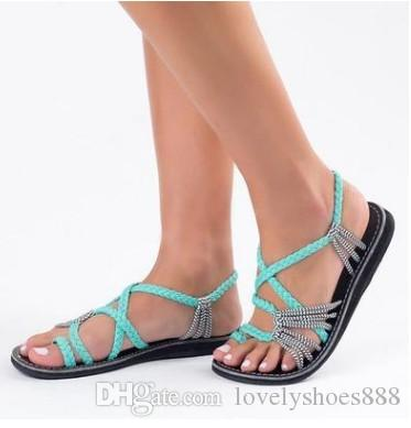 fashion rope knot clip-toe flat sandals red green black color size 35-44 women sandals 464