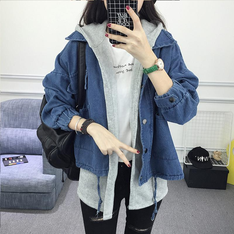 f1884e213b Spring Autumn Women Hooded Denim Jacket Casual BF Long Sleeve Jeans Jacket  Vintage Harajuku Female Loose Streetwear Basic Coats Leather Bomber Jacket  ...