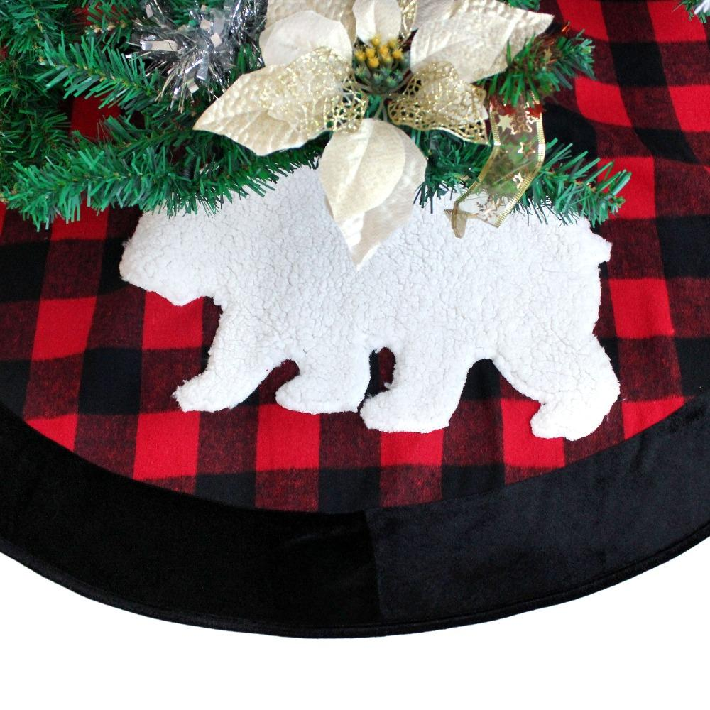 extra large 50 plaid christmas tree skirt with black suede border check with sherpa moose applique embroidery christmas balls christmas baubles from ilexer