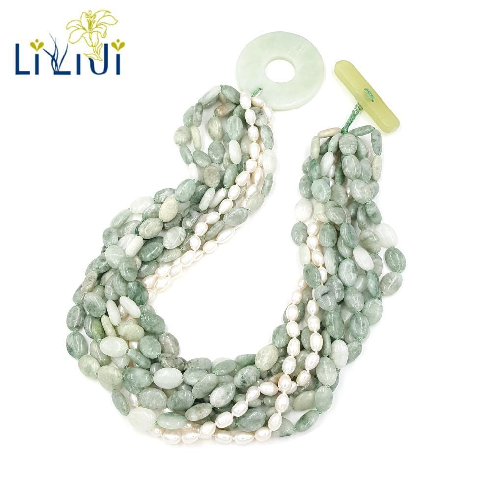 Lii Ji Natural Chinese Serpentine jade,Freshwater Pearl  9 Rows With Big Jade Toggle Clasp Necklace