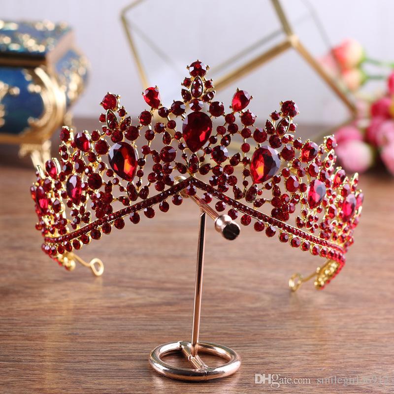 6.5cm High Baroque Vintage Bridal Wedding Prom Red Rhinestone Crystal Crown Tiaras Headbands Jewelry Headpiece Hair Accessories Handmade