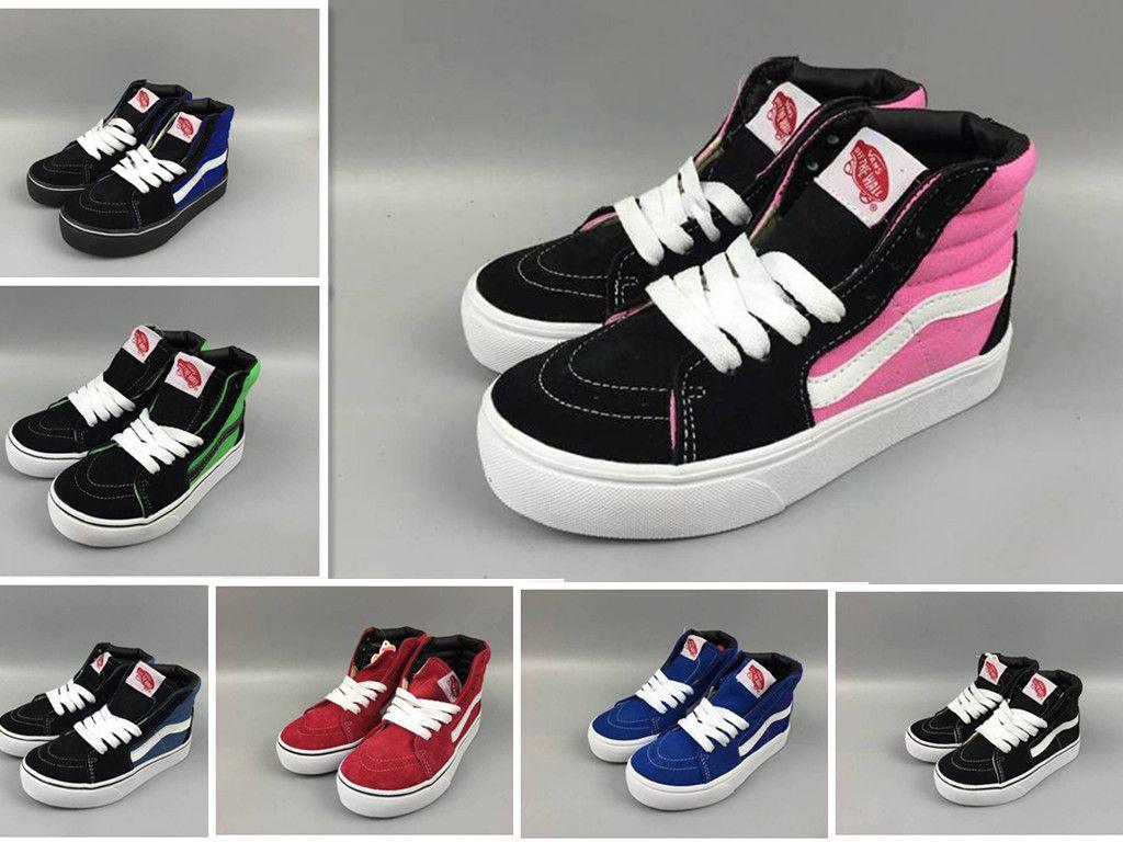 49adafad7ddbe7 Acquista Kids Koovans Skateboard Old Skool Classic White Black Bambini High  Top Canvas Casual Shoe Boy Girl Sneakers Da Ginnastica Regalo Del Bambino  22 35 ...