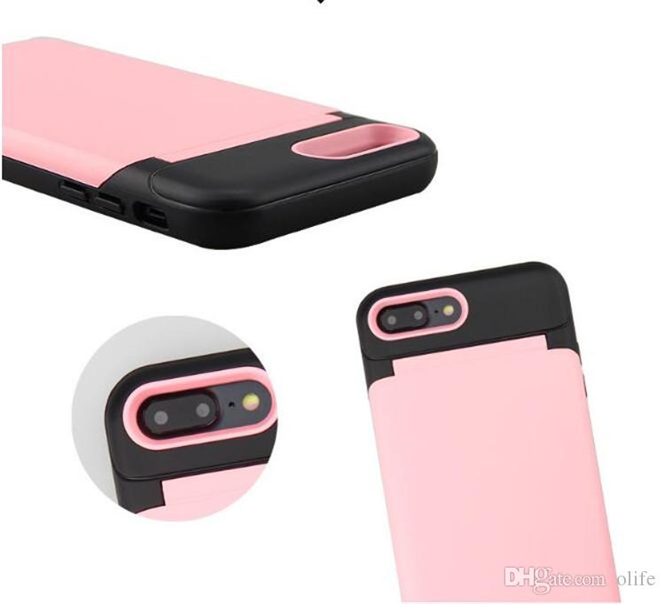 2018 Hot 2 in 1 Mirror Case Waterflow Card Slot Cases Delux Women Girly Back Cover For Iphone X 6 7 8 plus