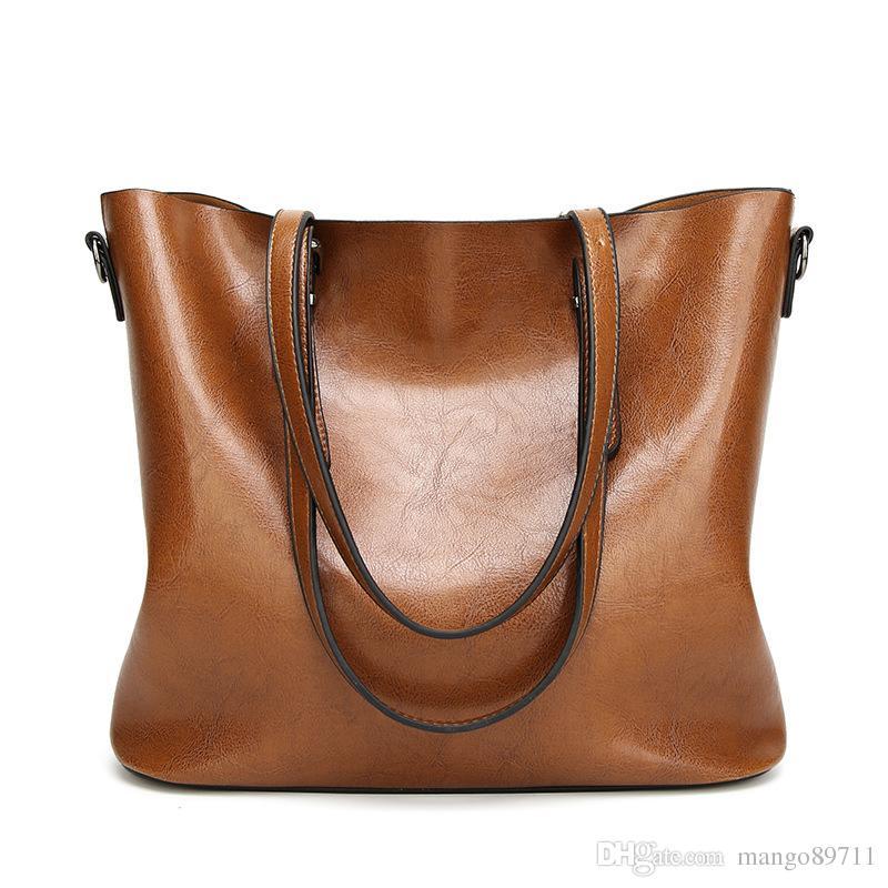 bbb487ecb421 Women Shoulder Bags New Stye Fashion Women Handbags Oil Wax Leather Large  Capacity Tote Bag Casual Pu Leather Messenger bag