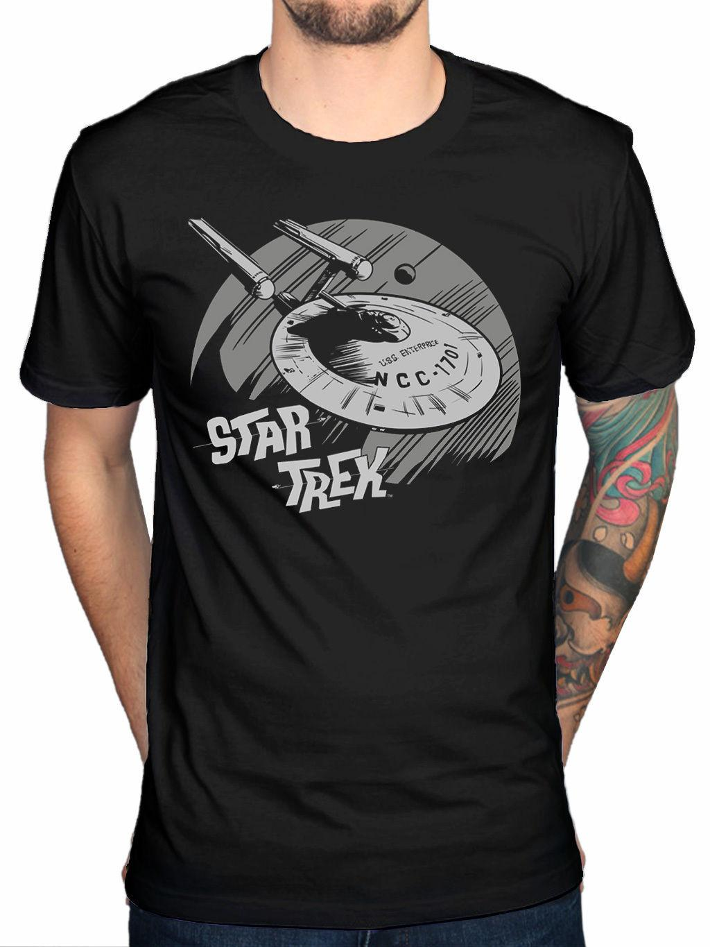 Official Star Trek Enterprise T-Shirt Movie Merchandise Kirk Spock New Brand-Clothing Tee 2018 Summer 100% Cotton Top Tee Men