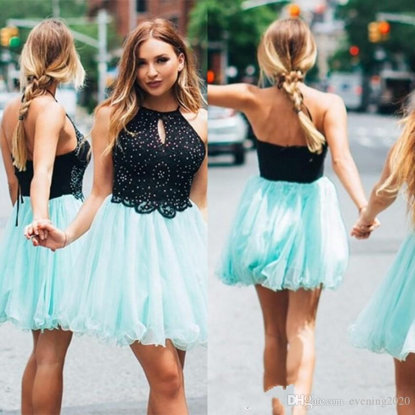 c80a2a760a4 Latest Style A Line Homecoming Dresses Halter Jewel Sleeveless Lace Mini  Short Zipper Back Tulle Short Party Dresses Cocktail Dresses Short Formal  Dresses ...