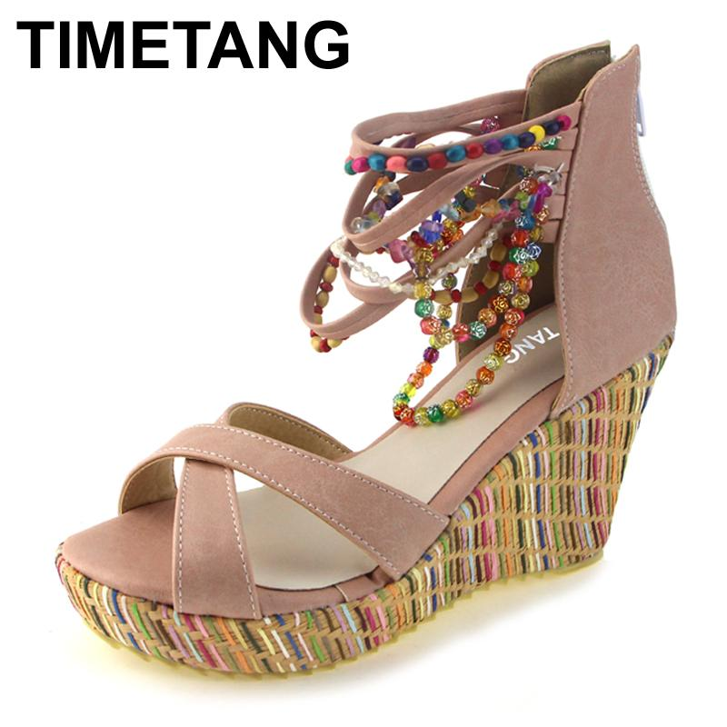 ebd82a2b90d TIMETANG Fashion New Bohemia Beaded Sandals Female Wedge Platform Shoes  Gladiator Ankle Strap Elegant Women High Heel Sandals Jesus Sandals Black  Wedges ...