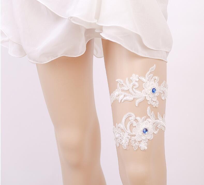 Синий Rhinstone Люкс Свадебные подвязки ноги женщины Подвязки белый Вышивка Sexy Подвязки 2шт / комплект высокое качество свободный корабль