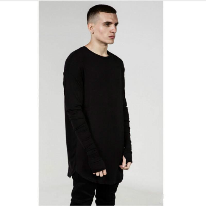 5c7fc17ee Mens Hip Hop T Shirt Full Long Sleeve T-Shirt With Thumb Hole Cuffs ...