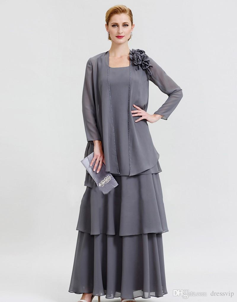 Grey Mother Of The Bride Dresses With Jacket Long Sleeve Chiffon Beaded  Plus Size Mothers Gown For Wedding Tea Length Formal Dress Party The  Doctors ...