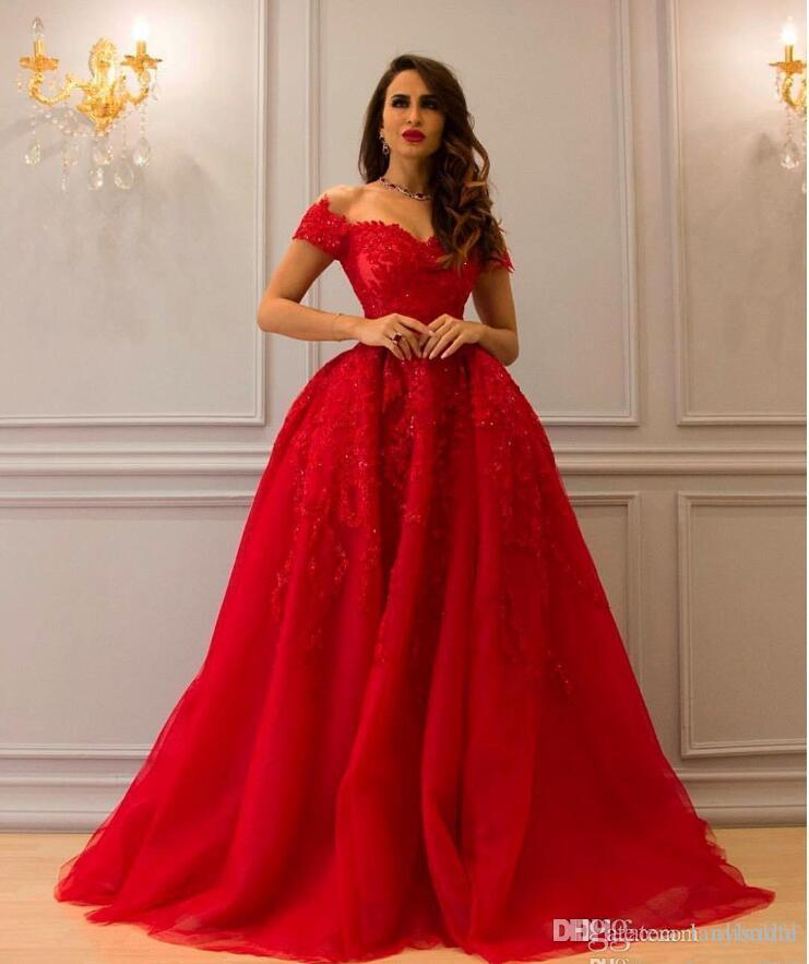 4aca2913302 2018 Arabic Red Lace Evening Dresses Sweetheart Beaded Ball Gown Tulle Prom  Dresses Vintage Formal Party Gowns Velvet Evening Dress Vintage Style  Evening ...