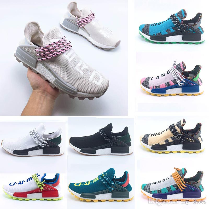 best service 8d0ab 44920 2018 Homecoming Creme X NERD Solar PacK Zapatos De Carreras De La Raza  Humana Pharrell Williams Hu Trail Trainers Hombres Mujeres Runner Sports  Sneakers 36 ...