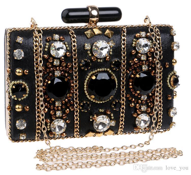 Neue Frauen Perlen High-End-Bankett Edle Abendtasche Black Diamond Schöne handgemachte Dinner Clutch LY07