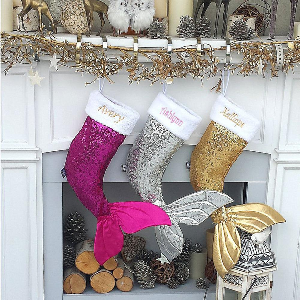 Mermaid Christmas Stocking.3 Colors Sparkly Mermaid Tail Christmas Stocking Sequin Mermaid Tail Magic Reversible Stocking Tree Ornaments Xmas Gifts