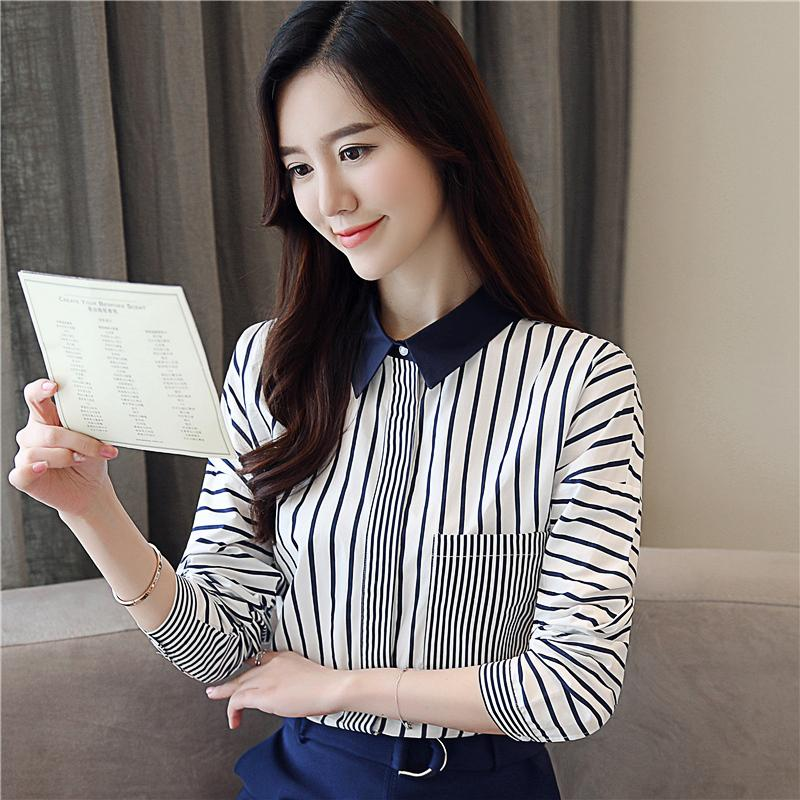 8283a3eac New Women's Tops and Blouses Autumn Contrast Color Chiffon Shirt OL Striped  Shirts Korean POLO Long Sleeve Blouse