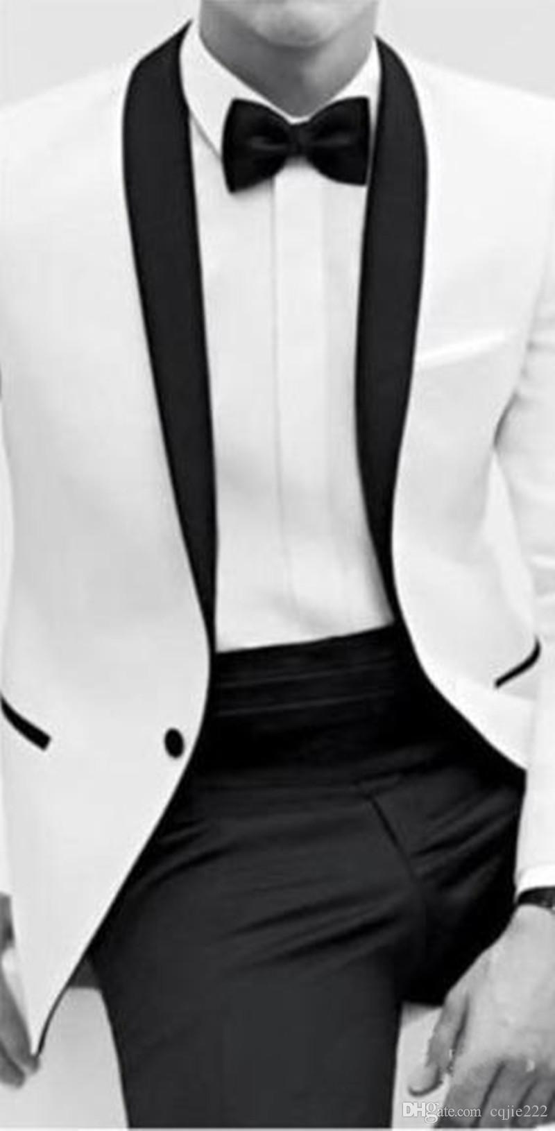 2018 New Classic Black and White Bestmen Smoking dello sposo Abiti formali Business Men Wear Jacket + Pants + Tie Spedizione gratuita Cheap 2017
