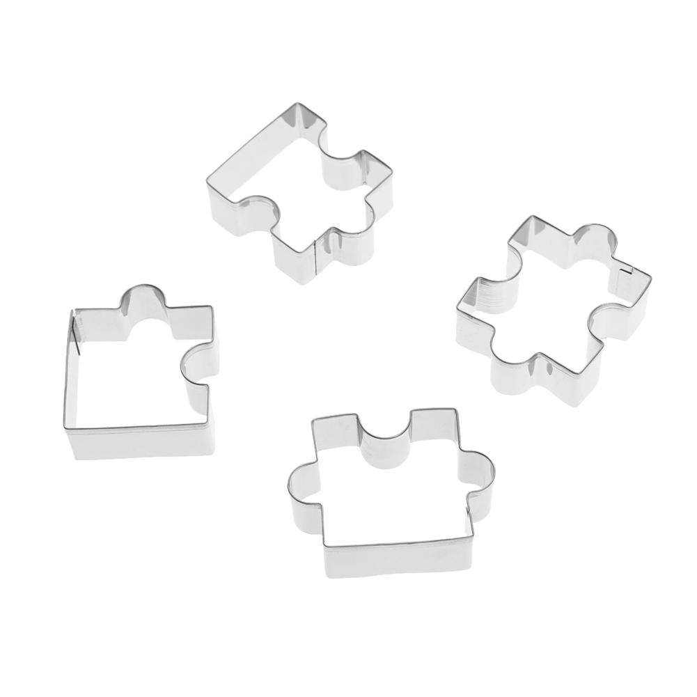 Stainless Steel Puzzle Cookie Cutter DIY Biscuit Dessert Mold Pastry Fondant Cake Sugarcraft Decorating Frame Cutter Tool