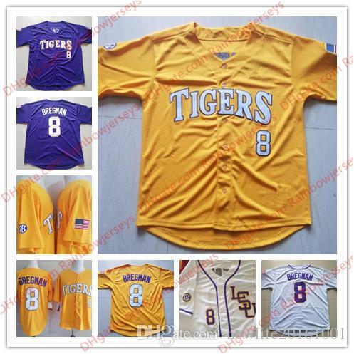 check out 4c3d0 ae1db Custom NCAA LSU Tigers #8 Alex Bregman 10 Aaron Nola 17 D. J. DJ LeMahieu 5  Aaron Hill College Baseball Jerseys Purple Gold Yellow White