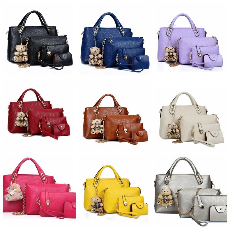 3c2803a291f Women Handbags PU Leather Crossbody Bags Floral Printing 4 Sets Purse  Cultch Composite Messenger bag Tote Shoulder bags 9colors GGA1316