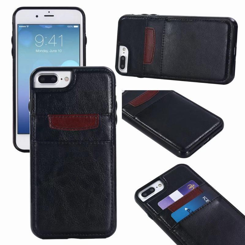 uk availability a8dca aceef For iPhone X Retro Leather Wallet Case Hard Back Case with Card Slot Phone  Shell For iPhone 8 7 6 Plus 5