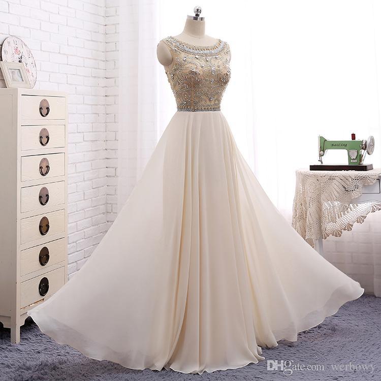 2020 New High-end Heavy Handmade Evening Dresses Handmade Beaded Chiffon Beige T-shirt Shoulder Prom Party Dresses HY107