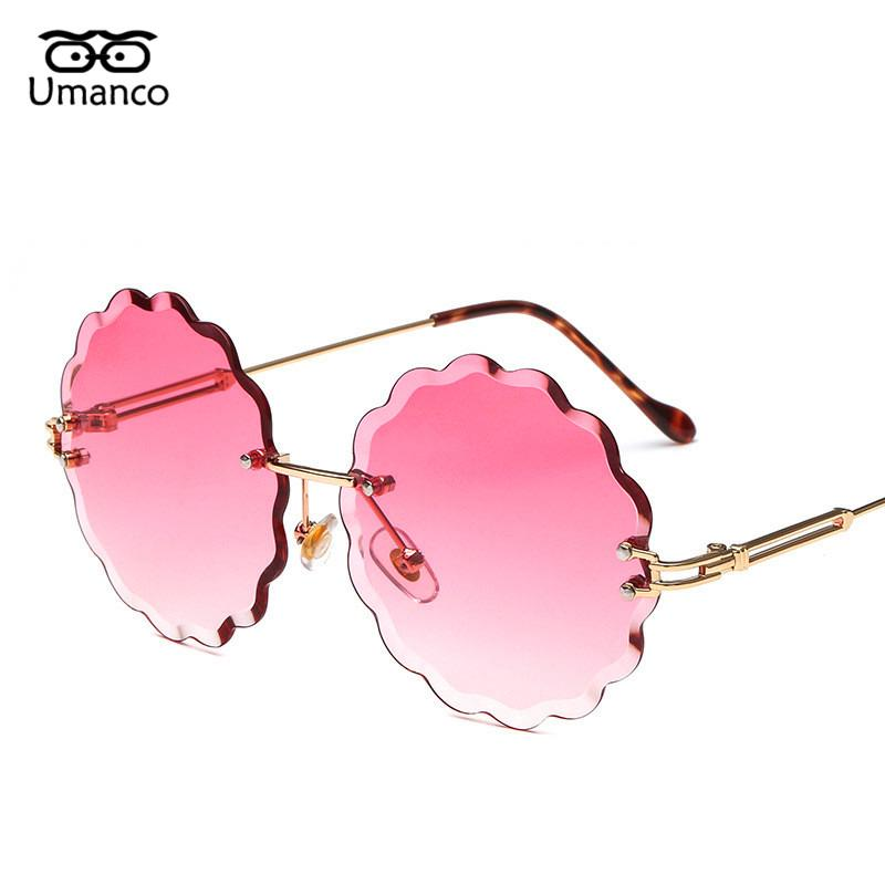 69848f17008 Umanco New Fashion Round Rimless Flower Sunglasses Women Men Vintage ...