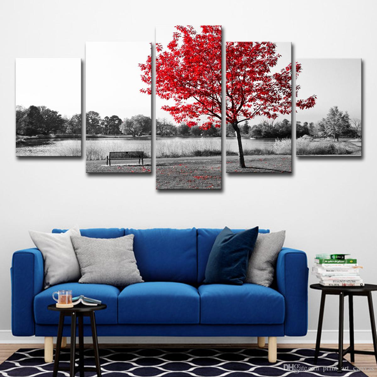 Canvas paintings hd prints home decor wall art red tree art scenery landscape poster for living room pictures art print print poster oil painting online