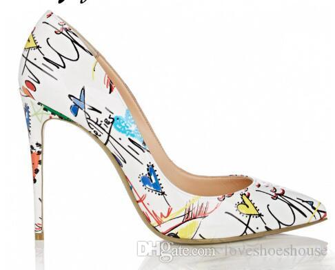 089d876ea61 2018 New Genuine Leather Printed Floral Pointed Toe Women HIgh Heels Sexy  Slip On Women Summer Pumps Shoes Women Navy Shoes Driving Shoes From ...