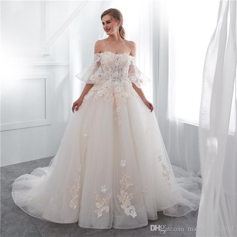 7034c952812 Discount 2018 Real Image Fairy Off The Shoulder Wedding Dresses Short Sleeve  Lace Up Back 3D Flora Appliques Sweep Train Church Arabic Style Bridal A  Line ...