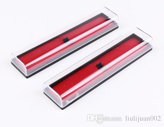 Red background pencil cases Transparent plastic pen holder Promotional gift pen box