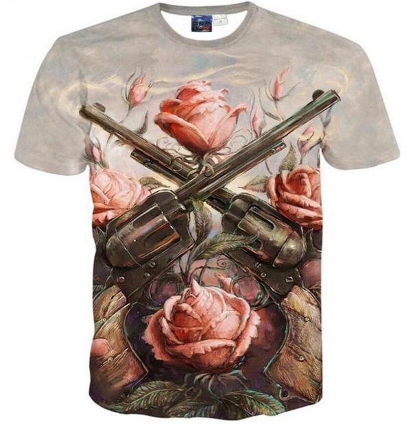 acf2c9d77ab New Fashion T-shirt Men Women Summer style 3d T shirt Print Rose flowers 2  Gun Originality Funny Casual T-Shirts