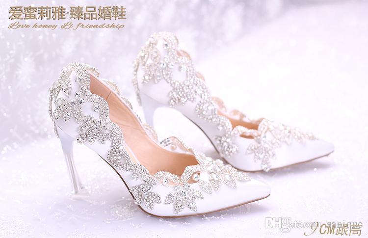 2018 أنيقة أحذية الزفاف شقة اللؤلؤ للعروس حفلة موسيقية 9CM الكعوب العالية بالإضافة إلى حجم أشار تو أحذية الرباط الزفاف