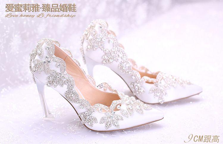 2018 Şık İnciler Düz Düğün Ayakkabı Gelin Balo Için 9 CM Yüksek Topuklar Artı Boyutu Sivri Burun Dantel Gelin Ayakkabıları