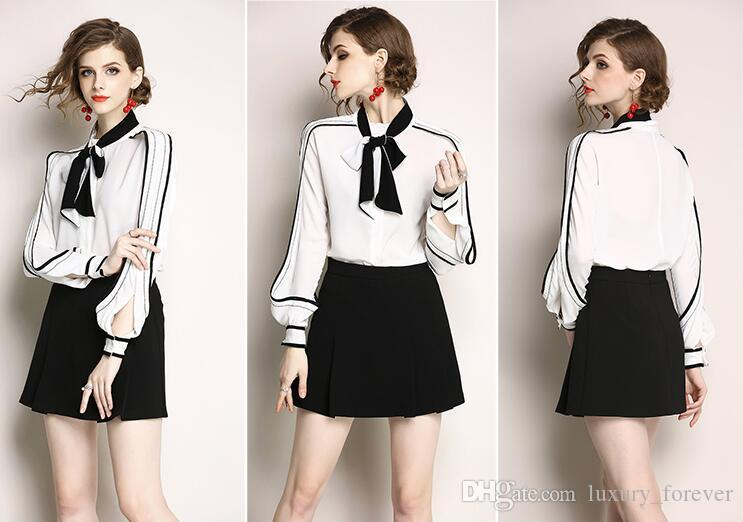 2018 European And American New Women s Color Collar Collar Shirt Bow ... 647a1d190dee