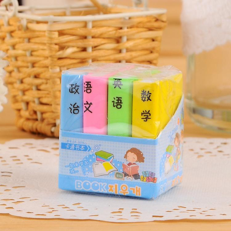 South Korea stationery cute cartoon books color rubber eraser textbook  students school supplies
