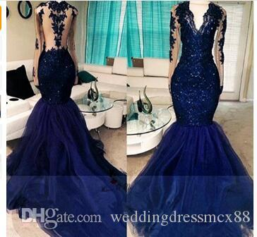 450ca91908bc Navy Blue Elegant Long Sleeve Prom Dresses 2018 Lace Beads Beads Mermaid  Formal Evening Gowns Vestido De Renda Festa Galajurken Affordable Prom  Dresses ...