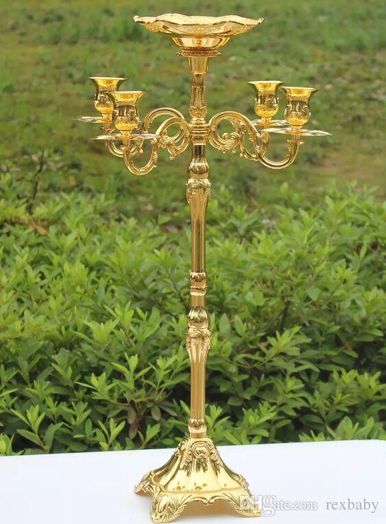 الساخن بيع 65CM الذهب الانتهاء من الشمعدانات مع وعاء الزهور، 5 الأسلحة حفلات الزفاف شمعة الحدث حامل محور شمعدان