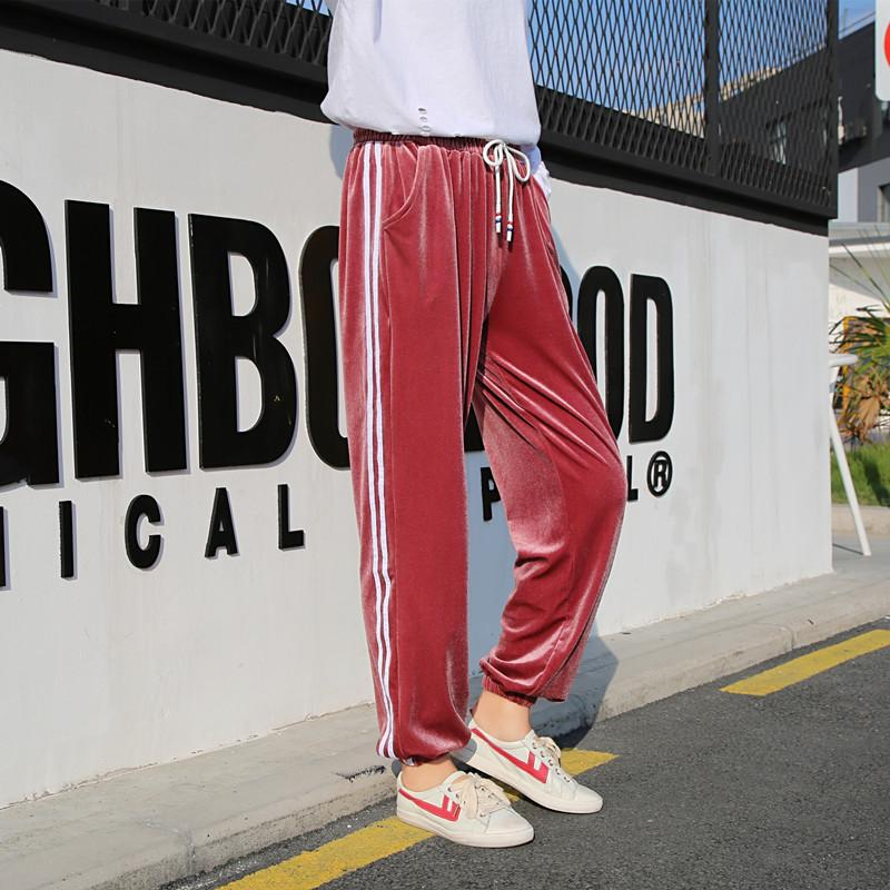 317b306f7d6 Gold Velvet Striped Women Pencil Pants Autumn New Loose Ins Hot Style  Student Harem Pants Casual Capris Female Online with  30.86 Piece on  Yushaoe s Store ...