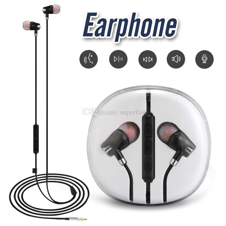3.5mm AUX Wried Earphone para iPhone 6 Xiaomi A1 auriculares auriculares Jack In Ear con cable con control de volumen de micrófono con caja de cristal