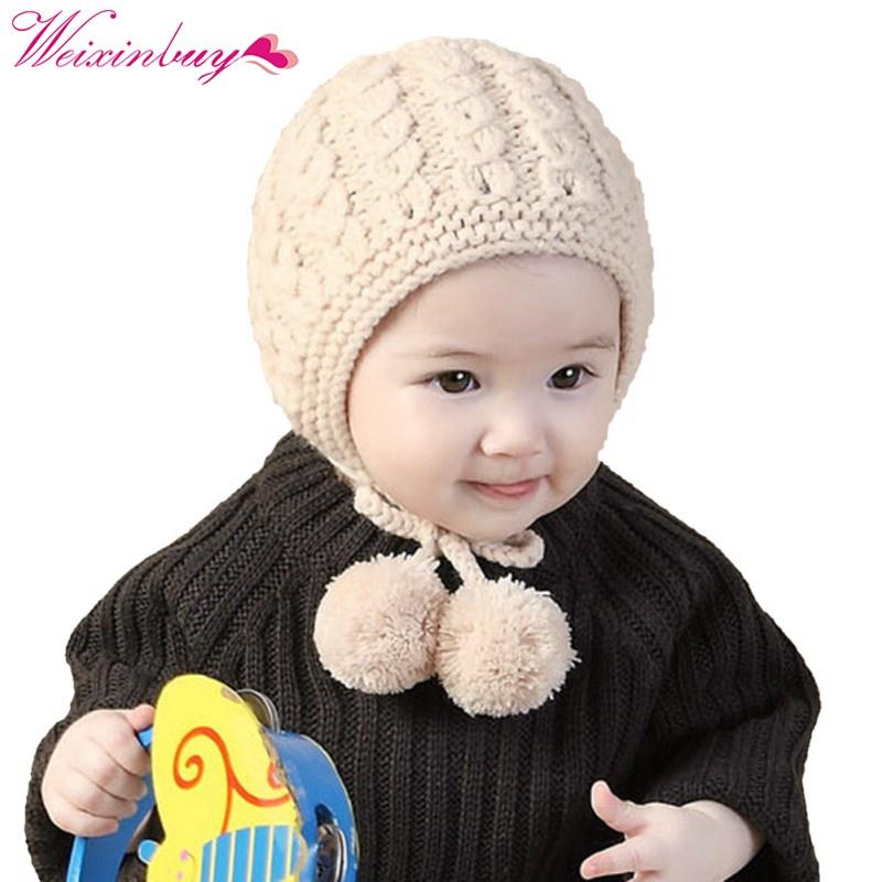 321c6dd19 New Knit Baby Hat Winter Autumn Lace Up Infant Girls Boys Warm Cap Baby  Bonnet 6-24 Months Beige/Wine/Red