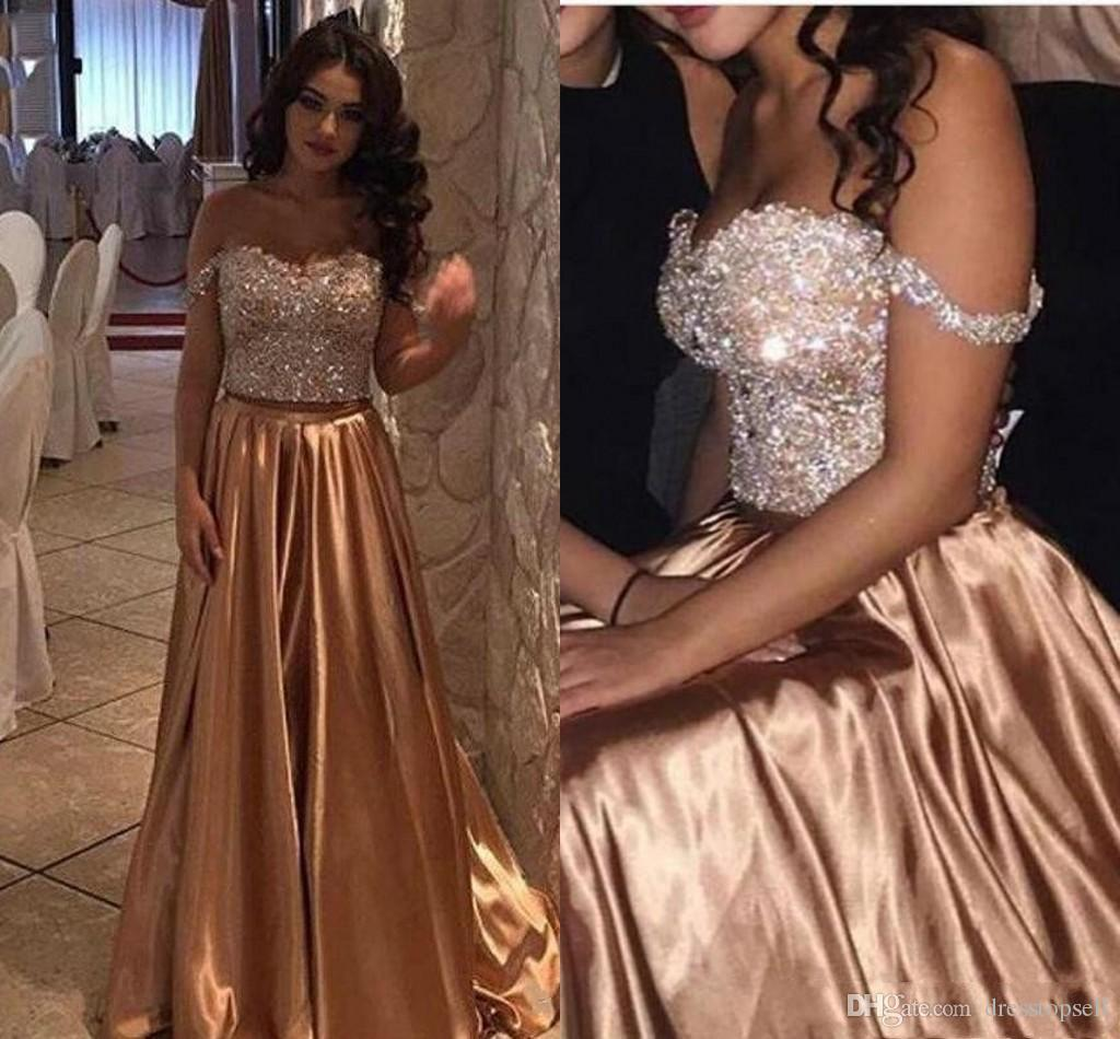 f7b5c2ae4c 2019 African Gold Two Pieces Beads Crystal Bling Prom Dresses Off Shoulder  Satin Long Plus Size Pageant Party Dress Formal Evening Gowns Sexy Short  Prom ...