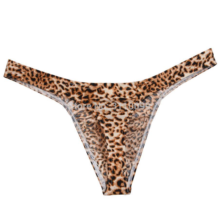 Neue Kollektion Mode Leopard Bikini Sexy Männer Thongs und G-Strings Hervorstehende Beutel Männlichen Tanga Unterwäsche Männer Unterhose Tanga