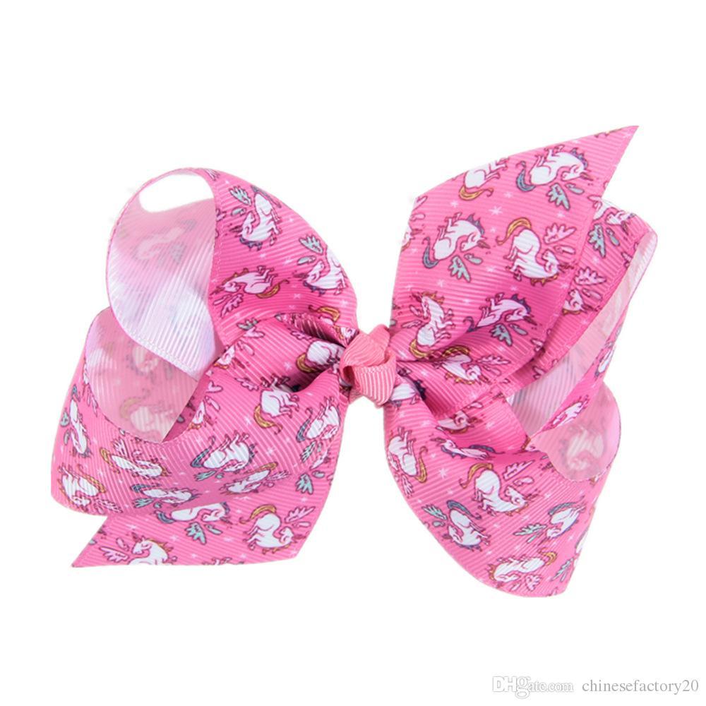 Niñas Unicornio Bows Bows Clavos de cocodrilo Pintura grande Love Jojo Ombre Rainbow Bowknot Horizales Headwear Bobbles Accesorios