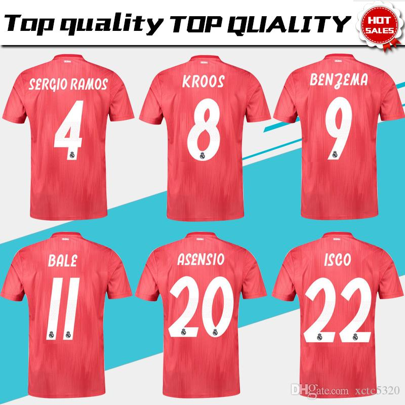 fc775d417 Real Madrid third Soccer Jersey 18 19 Real Madrid 3rd red soccer shirt 2019   11 BALE  8 KROOS  22 ISCO  20 ASENSIO football uniform