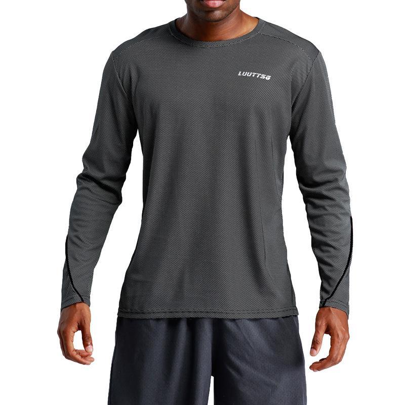 Compre Pro Sports Tecido Homens Ginásio Camisas De Desgaste De Manga Longa  Quick Dry Running T Shirt Ginásio Respirável Treino Treino De Fitness  Jersey De ... 6cbd79631b406