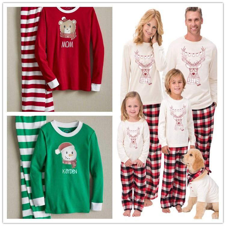 e71e703a4e Autumn Warm Winter Xmas Santa Deer Elk Christmas Family Kids Women Men  Adult Sleepwear Pajamas Set Striped Plaid Cotton Pyjamas 2ps Outfit Toddler  Halloween ...