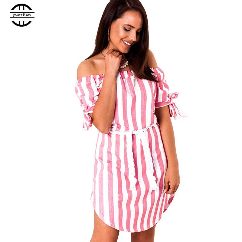 847f69647f8 2019 Summer Dress 2018 Women Striped Off Shoulder Dress Sexy Club Beach  Bandage Casual Mini Party Dresses Vestidos From Feiyancao