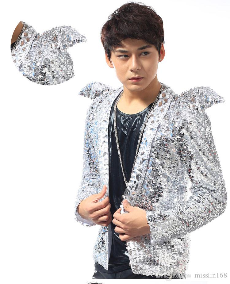 Sequined white tuxedo jacket new men clothing shrug suit outerwear dancer singer dress performance show nightclub slim star suit