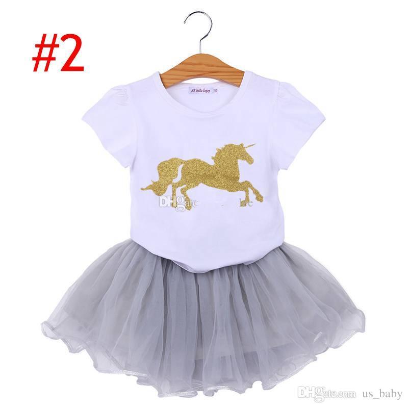 Bambini Unicorno Outfit Neonate Cartoon T-Shirt Tutu Gonna vestiti Set Ragazze 2 pezzi abiti 4 stile scegliere
